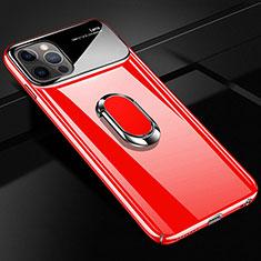 Handyhülle Hülle Hartschalen Kunststoff Schutzhülle Tasche Matt mit Magnetisch Fingerring Ständer A01 für Apple iPhone 12 Pro Rot