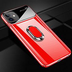 Handyhülle Hülle Hartschalen Kunststoff Schutzhülle Tasche Matt mit Magnetisch Fingerring Ständer A01 für Apple iPhone 12 Rot