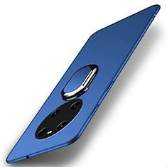Handyhülle Hülle Hartschalen Kunststoff Schutzhülle Tasche Matt mit Magnetisch Fingerring Ständer A01 für Huawei Mate 40 Blau
