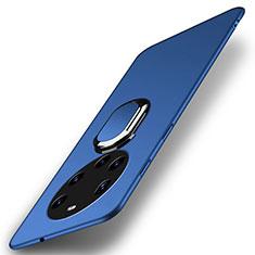 Handyhülle Hülle Hartschalen Kunststoff Schutzhülle Tasche Matt mit Magnetisch Fingerring Ständer A01 für Huawei Mate 40 Pro+ Plus Blau