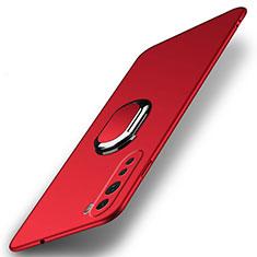 Handyhülle Hülle Hartschalen Kunststoff Schutzhülle Tasche Matt mit Magnetisch Fingerring Ständer A01 für OnePlus Nord Rot
