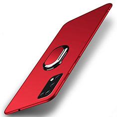 Handyhülle Hülle Hartschalen Kunststoff Schutzhülle Tasche Matt mit Magnetisch Fingerring Ständer A01 für Oppo K7x 5G Rot