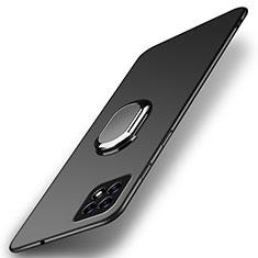 Handyhülle Hülle Hartschalen Kunststoff Schutzhülle Tasche Matt mit Magnetisch Fingerring Ständer A01 für Oppo Reno4 SE 5G Schwarz