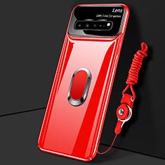 Handyhülle Hülle Hartschalen Kunststoff Schutzhülle Tasche Matt mit Magnetisch Fingerring Ständer A01 für Samsung Galaxy S10 5G SM-G977B Rot