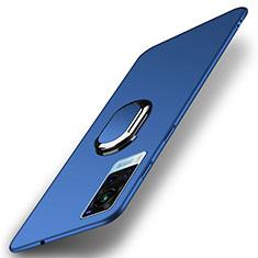 Handyhülle Hülle Hartschalen Kunststoff Schutzhülle Tasche Matt mit Magnetisch Fingerring Ständer A01 für Vivo X60 5G Blau