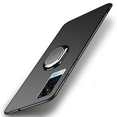 Handyhülle Hülle Hartschalen Kunststoff Schutzhülle Tasche Matt mit Magnetisch Fingerring Ständer A01 für Vivo X60 5G Schwarz