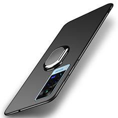 Handyhülle Hülle Hartschalen Kunststoff Schutzhülle Tasche Matt mit Magnetisch Fingerring Ständer A01 für Vivo X60 Pro 5G Schwarz