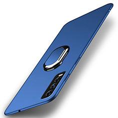 Handyhülle Hülle Hartschalen Kunststoff Schutzhülle Tasche Matt mit Magnetisch Fingerring Ständer A01 für Vivo Y11s Blau