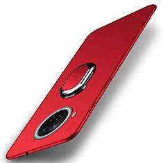 Handyhülle Hülle Hartschalen Kunststoff Schutzhülle Tasche Matt mit Magnetisch Fingerring Ständer A01 für Xiaomi Mi 10T Lite 5G Rot