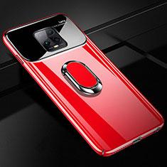 Handyhülle Hülle Hartschalen Kunststoff Schutzhülle Tasche Matt mit Magnetisch Fingerring Ständer A01 für Xiaomi Redmi 10X Pro 5G Rot