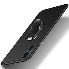 Handyhülle Hülle Hartschalen Kunststoff Schutzhülle Tasche Matt mit Magnetisch Fingerring Ständer P01 für Oppo Find X2 Neo Schwarz