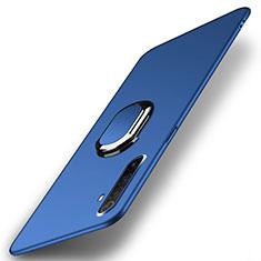 Handyhülle Hülle Hartschalen Kunststoff Schutzhülle Tasche Matt mit Magnetisch Fingerring Ständer P01 für Realme X50 Pro 5G Blau