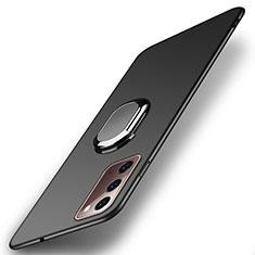 Handyhülle Hülle Hartschalen Kunststoff Schutzhülle Tasche Matt mit Magnetisch Fingerring Ständer P01 für Samsung Galaxy Note 20 5G Schwarz