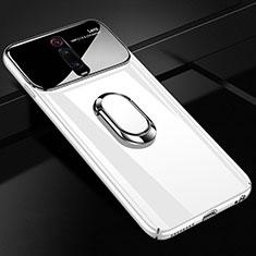 Handyhülle Hülle Hartschalen Kunststoff Schutzhülle Tasche Matt mit Magnetisch Fingerring Ständer P01 für Xiaomi Mi 9T Pro Weiß