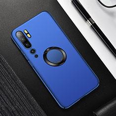 Handyhülle Hülle Hartschalen Kunststoff Schutzhülle Tasche Matt mit Magnetisch Fingerring Ständer P01 für Xiaomi Mi Note 10 Blau