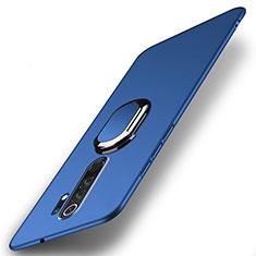 Handyhülle Hülle Hartschalen Kunststoff Schutzhülle Tasche Matt mit Magnetisch Fingerring Ständer P01 für Xiaomi Redmi Note 8 Pro Blau