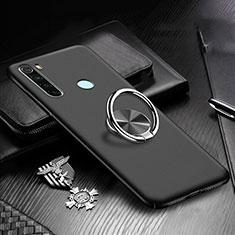 Handyhülle Hülle Hartschalen Kunststoff Schutzhülle Tasche Matt mit Magnetisch Fingerring Ständer P01 für Xiaomi Redmi Note 8 Schwarz
