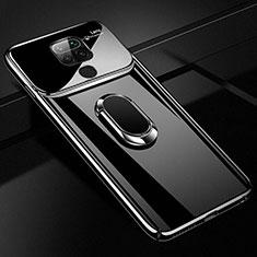 Handyhülle Hülle Hartschalen Kunststoff Schutzhülle Tasche Matt mit Magnetisch Fingerring Ständer P01 für Xiaomi Redmi Note 9 Schwarz