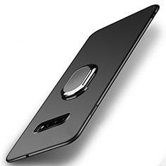 Handyhülle Hülle Hartschalen Kunststoff Schutzhülle Tasche Matt mit Magnetisch Fingerring Ständer P02 für Samsung Galaxy S10 Schwarz