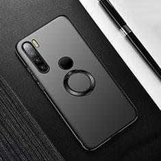 Handyhülle Hülle Hartschalen Kunststoff Schutzhülle Tasche Matt mit Magnetisch Fingerring Ständer P02 für Xiaomi Redmi Note 8 Schwarz