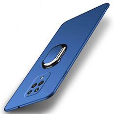 Handyhülle Hülle Hartschalen Kunststoff Schutzhülle Tasche Matt mit Magnetisch Fingerring Ständer P02 für Xiaomi Redmi Note 9 Blau