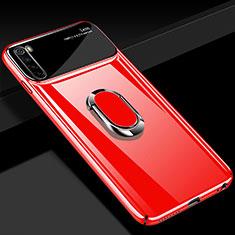 Handyhülle Hülle Hartschalen Kunststoff Schutzhülle Tasche Matt mit Magnetisch Fingerring Ständer P03 für Xiaomi Redmi Note 8 Rot