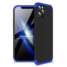 Handyhülle Hülle Hartschalen Kunststoff Schutzhülle Tasche Matt Vorder und Rückseite 360 Grad Ganzkörper für Apple iPhone 12 Pro Max Blau und Schwarz