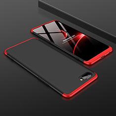 Handyhülle Hülle Hartschalen Kunststoff Schutzhülle Tasche Matt Vorder und Rückseite 360 Grad Ganzkörper für Oppo A12e Rot und Schwarz