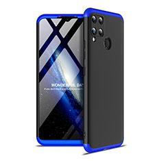 Handyhülle Hülle Hartschalen Kunststoff Schutzhülle Tasche Matt Vorder und Rückseite 360 Grad Ganzkörper für Realme C15 Blau und Schwarz