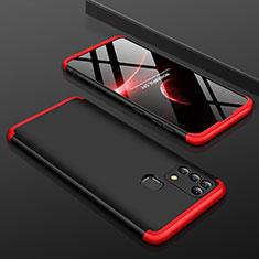 Handyhülle Hülle Hartschalen Kunststoff Schutzhülle Tasche Matt Vorder und Rückseite 360 Grad Ganzkörper für Samsung Galaxy M21s Rot und Schwarz