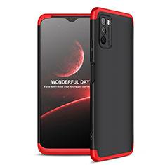 Handyhülle Hülle Hartschalen Kunststoff Schutzhülle Tasche Matt Vorder und Rückseite 360 Grad Ganzkörper für Xiaomi Poco M3 Rot und Schwarz