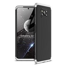 Handyhülle Hülle Hartschalen Kunststoff Schutzhülle Tasche Matt Vorder und Rückseite 360 Grad Ganzkörper für Xiaomi Poco X3 NFC Silber und Schwarz