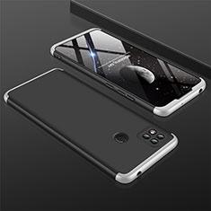 Handyhülle Hülle Hartschalen Kunststoff Schutzhülle Tasche Matt Vorder und Rückseite 360 Grad Ganzkörper für Xiaomi Redmi 9C Silber und Schwarz