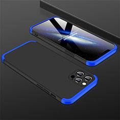 Handyhülle Hülle Hartschalen Kunststoff Schutzhülle Tasche Matt Vorder und Rückseite 360 Grad Ganzkörper M01 für Apple iPhone 12 Pro Max Blau und Schwarz