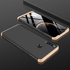 Handyhülle Hülle Hartschalen Kunststoff Schutzhülle Tasche Matt Vorder und Rückseite 360 Grad Ganzkörper M01 für Samsung Galaxy A20s Gold und Schwarz