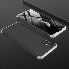 Handyhülle Hülle Hartschalen Kunststoff Schutzhülle Tasche Matt Vorder und Rückseite 360 Grad Ganzkörper M01 für Samsung Galaxy M31s Silber und Schwarz