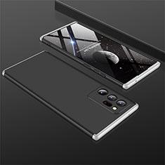 Handyhülle Hülle Hartschalen Kunststoff Schutzhülle Tasche Matt Vorder und Rückseite 360 Grad Ganzkörper M01 für Samsung Galaxy Note 20 Ultra 5G Silber und Schwarz