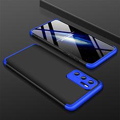 Handyhülle Hülle Hartschalen Kunststoff Schutzhülle Tasche Matt Vorder und Rückseite 360 Grad Ganzkörper M02 für Huawei P40 Blau und Schwarz