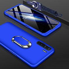 Handyhülle Hülle Hartschalen Kunststoff Schutzhülle Tasche Matt Vorder und Rückseite 360 Grad Ganzkörper mit Fingerring Ständer für Oppo A91 Blau