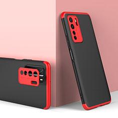 Handyhülle Hülle Hartschalen Kunststoff Schutzhülle Tasche Matt Vorder und Rückseite 360 Grad Ganzkörper P01 für Huawei P40 Lite 5G Rot und Schwarz