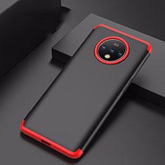 Handyhülle Hülle Hartschalen Kunststoff Schutzhülle Tasche Matt Vorder und Rückseite 360 Grad Ganzkörper P01 für OnePlus 7T Rot und Schwarz