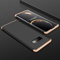 Handyhülle Hülle Hartschalen Kunststoff Schutzhülle Tasche Matt Vorder und Rückseite 360 Grad Ganzkörper P01 für Samsung Galaxy S10e Gold und Schwarz