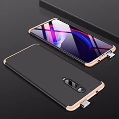 Handyhülle Hülle Hartschalen Kunststoff Schutzhülle Tasche Matt Vorder und Rückseite 360 Grad Ganzkörper P01 für Xiaomi Mi 9T Pro Gold und Schwarz