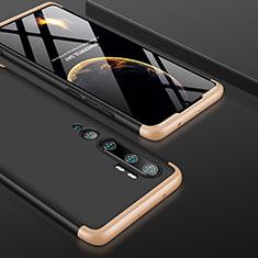 Handyhülle Hülle Hartschalen Kunststoff Schutzhülle Tasche Matt Vorder und Rückseite 360 Grad Ganzkörper P01 für Xiaomi Mi Note 10 Gold und Schwarz