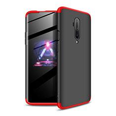 Handyhülle Hülle Hartschalen Kunststoff Schutzhülle Tasche Matt Vorder und Rückseite 360 Grad Ganzkörper P02 für OnePlus 7T Pro Rot und Schwarz