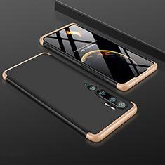 Handyhülle Hülle Hartschalen Kunststoff Schutzhülle Tasche Matt Vorder und Rückseite 360 Grad Ganzkörper R01 für Xiaomi Mi Note 10 Gold und Schwarz