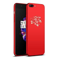 Handyhülle Hülle Kunststoff Schutzhülle Blumen für OnePlus 5 Rot