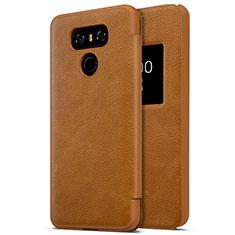 Handyhülle Hülle Kunststoff Schutzhülle Leder für LG G6 Braun