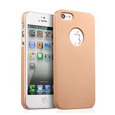 Handyhülle Hülle Kunststoff Schutzhülle Matt Loch für Apple iPhone 5S Gold