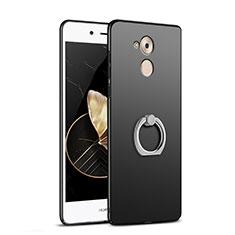 Handyhülle Hülle Kunststoff Schutzhülle Matt mit Fingerring Ständer A02 für Huawei Enjoy 6S Schwarz